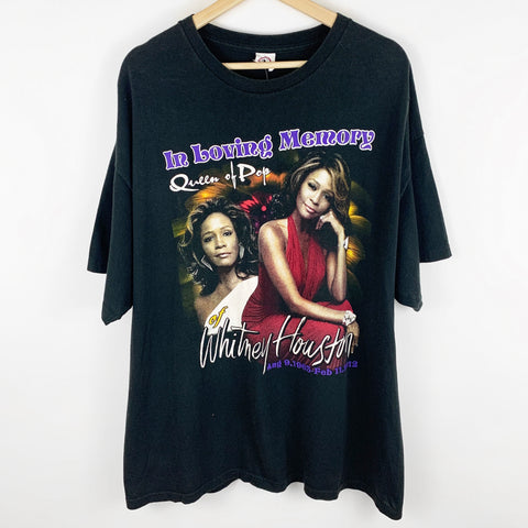 2000s Whitney Houston Queen of Pop 'In Loving Memory' Rap Tee Style Graphic Shirt