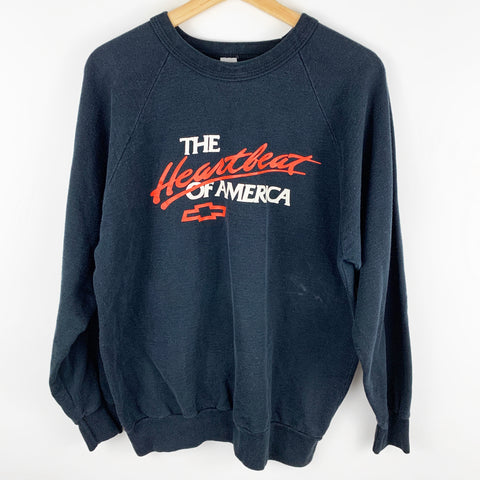Vintage Chevrolet 'The Heartbeat of America' Spell Out Graphic Sweatshirt