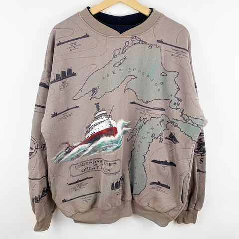 Vintage 90s All Over Print 'Legendary Ships of the Great Lakes' Map Graphic Sweatshirt