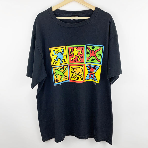 Vintage 90s 1996 Keith Haring Pop Art Abstract Colorful Art Graphic Shirt