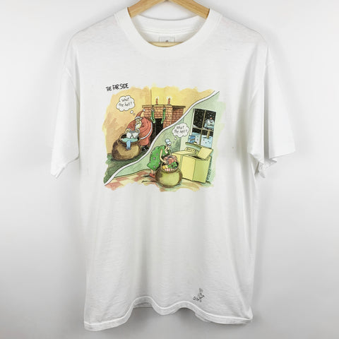 Vintage 90s 1991 The Far Side Comic 'Santa & Mrs. Claus' Graphic Shirt
