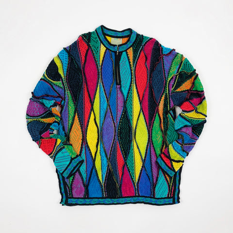 Vintage 90s Colorful Coogi Quarter Zip Sweater