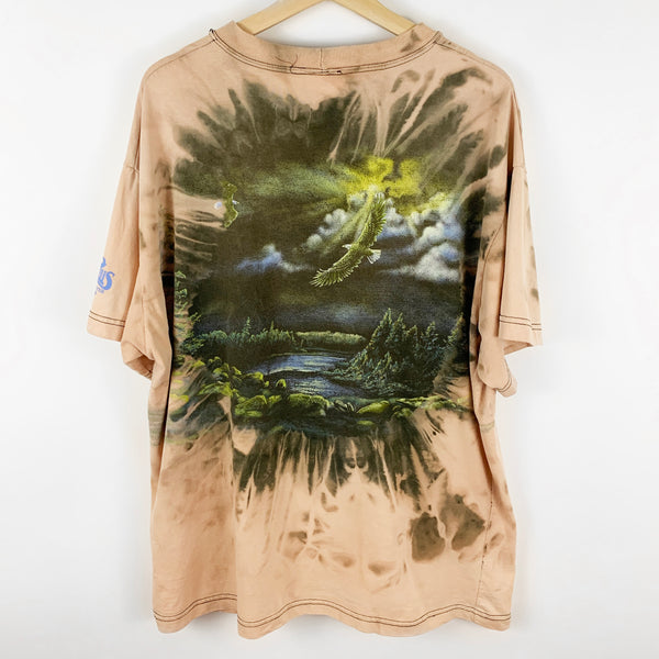 Vintage 90s Custom Bleach Dye Art Unlimited Eagles in Nature Graphic Shirt
