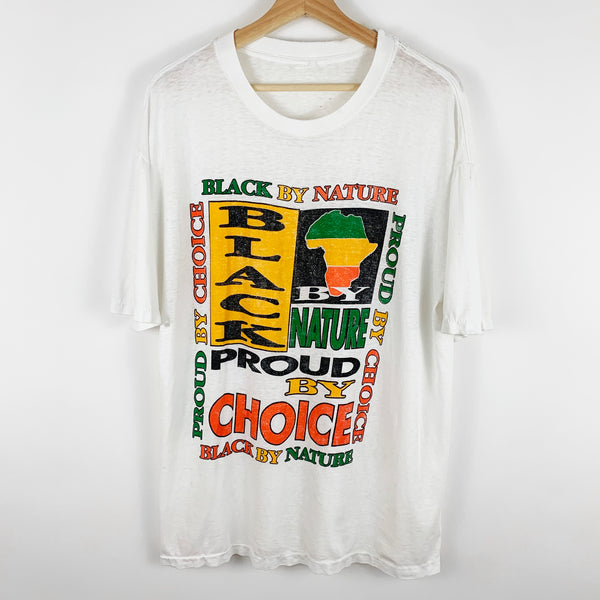 Vintage 90s 'Black By Nature, Proud By Choice' Black Pride Graphic Shirt