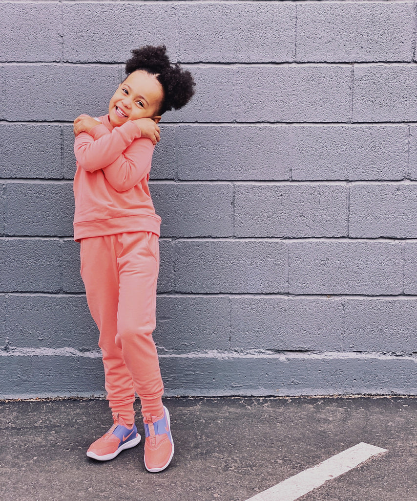 Bamboo Fleece Jogger in Peach & Rose Brown