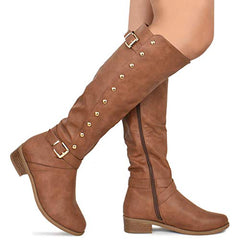 Trendy Zipper Low Stacked Heel Boots