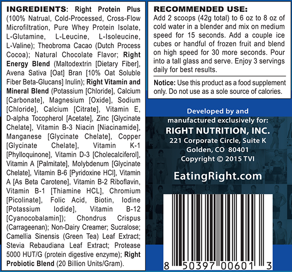 nutrition shake label