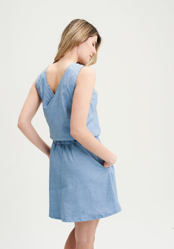 FREESIA - Robe en chanvre bleue