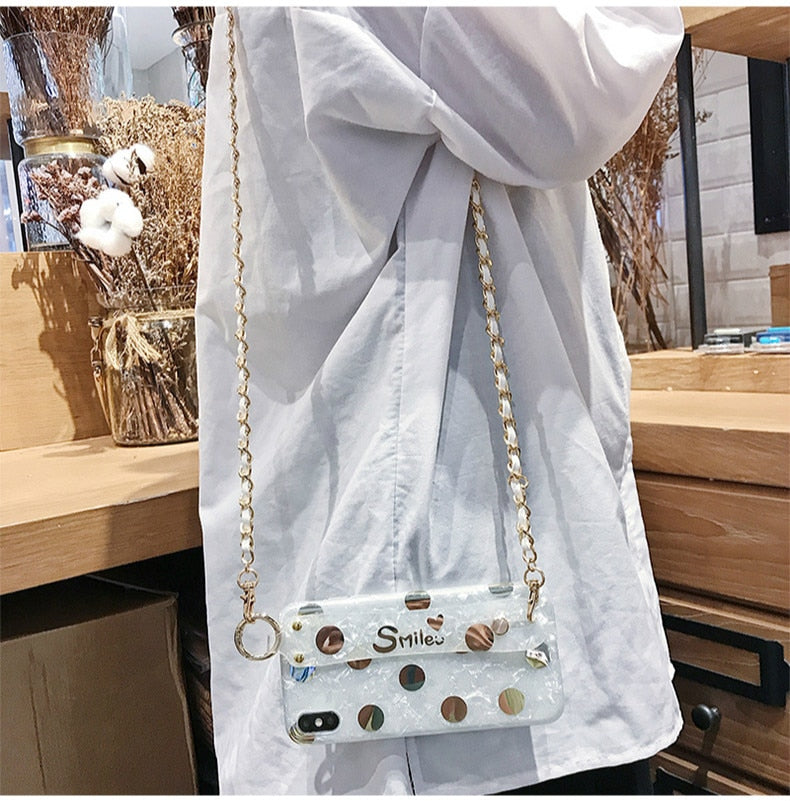 iPhone Gold Chain Crossbody Case