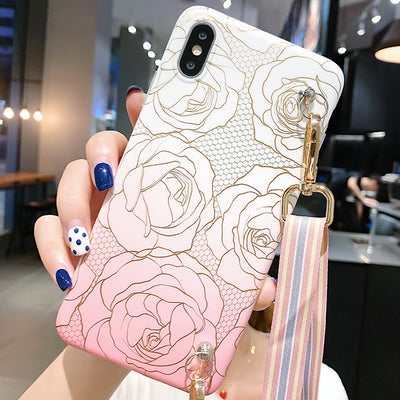 Samsung Pink Roses Phone Case with Strap