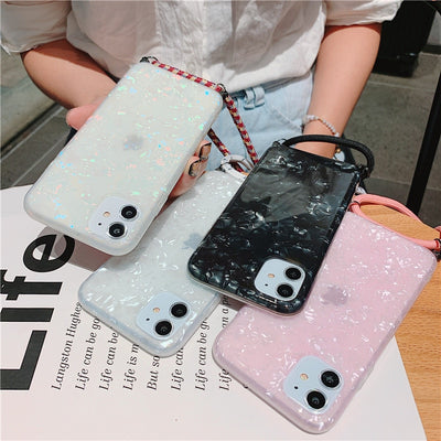 Samsung Glossy Marble Phone Case with Strap