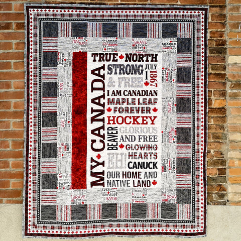 My Canada Eh quilt using reds, greys and blacks.