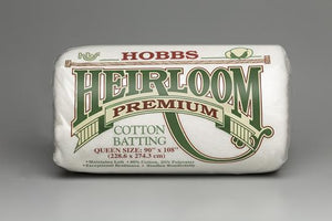 Batting Heirloom Premium Bleached Cotton Blend 90in x 108in