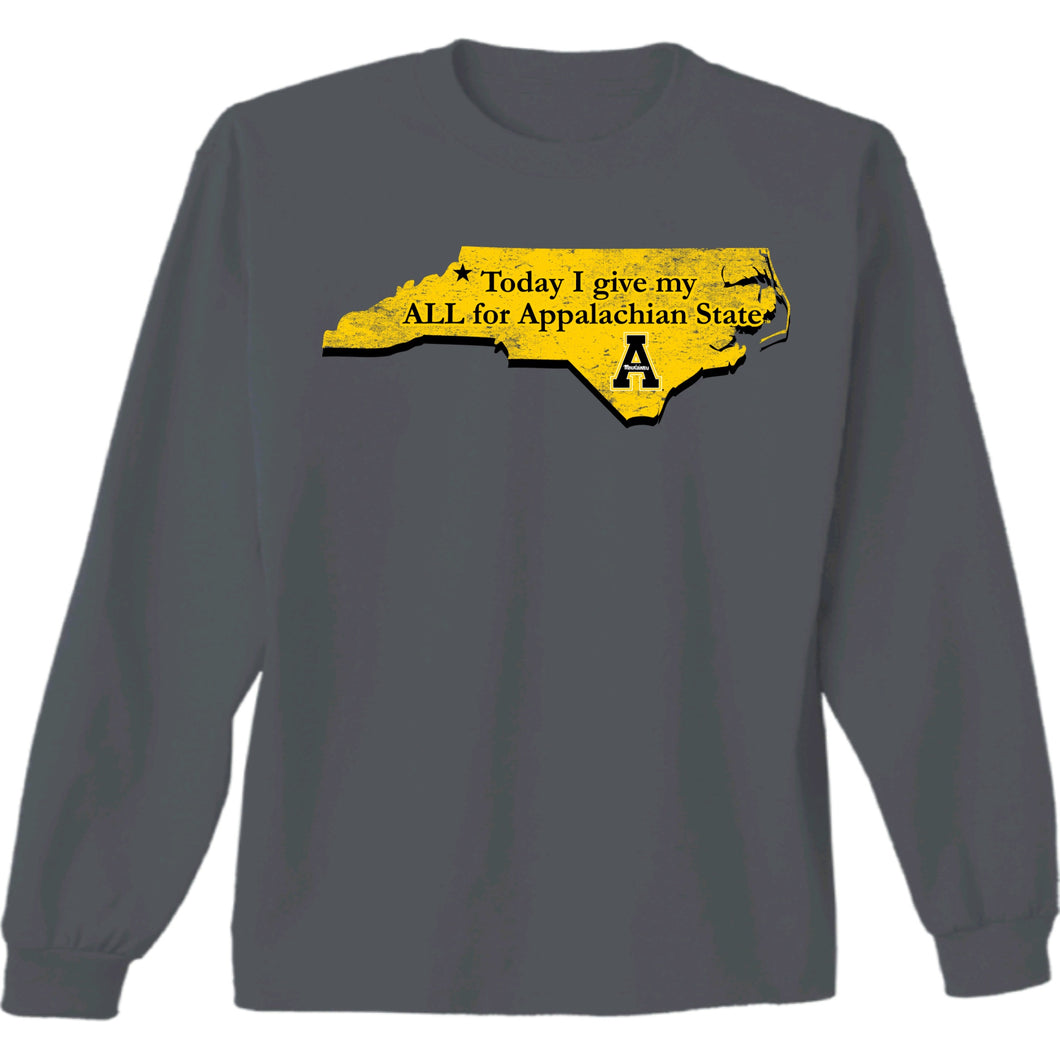 Appalachian State Today I Give My ALL Long Sleeve Charcoal T-shirt