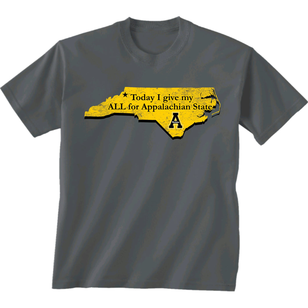 Appalachian State Today I Give My ALL Short Sleeve Charcoal T-shirt