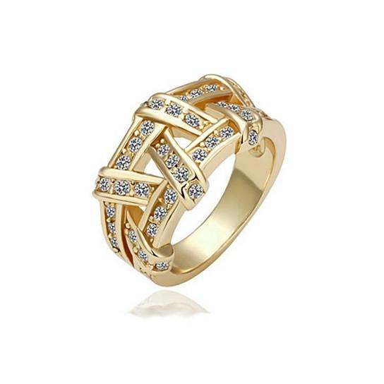 Nysa Cocktail Ring Dazzling CZ In Gold And Rose Gold