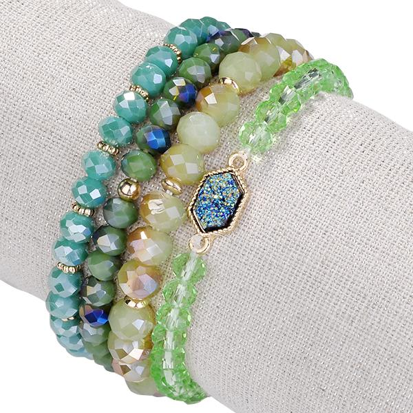 Arm Candy Natural Stone And Glass Crystal Bracelets