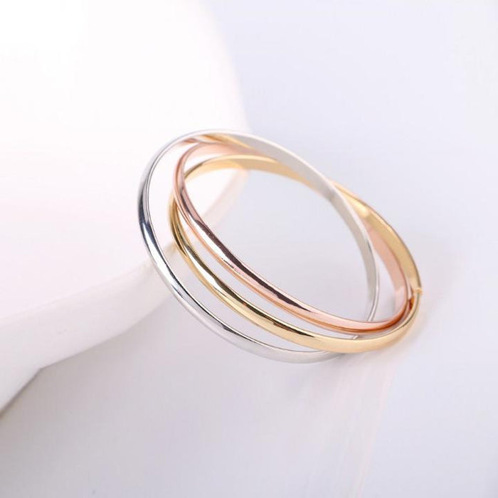 Siana Tri Color Bangles In 18 Kt Rose Gold Plating Yellow Gold Plating And White Gold Plating