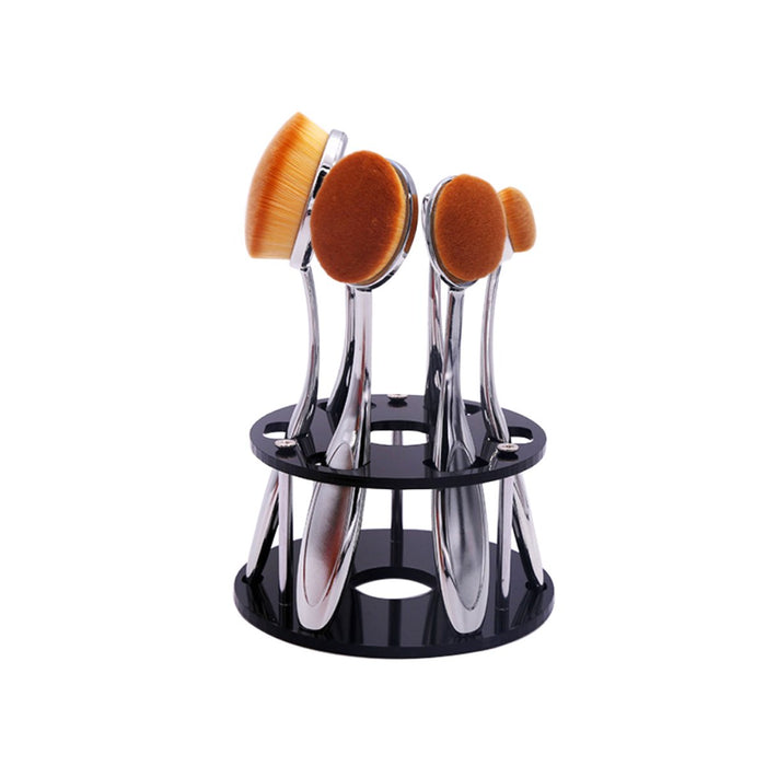 Vanity 6 Pc Oval Beauty Brushes With Caddy Organizer