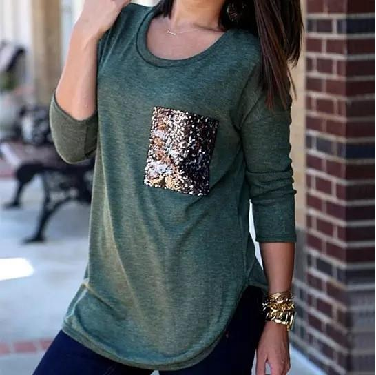 Queenie Tunic Top With Sequined Pocket