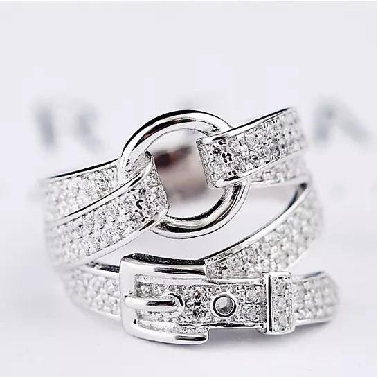 Cowgirl Ring Shaped Like A Belt With CZ Stones