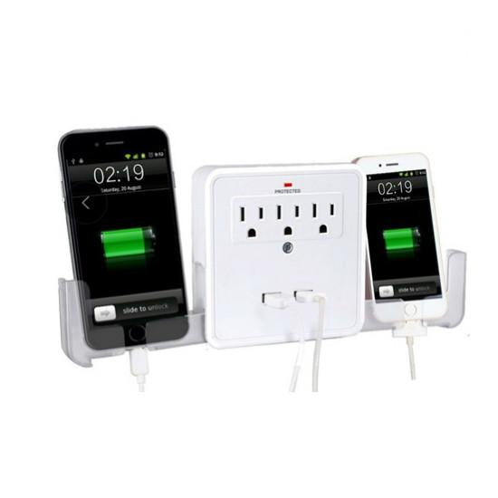 NEW! Classic Combo Wall Adapter W/3 AC Outlets W/Surge Protection And Dual USB Ports To Charge Your Gadgets