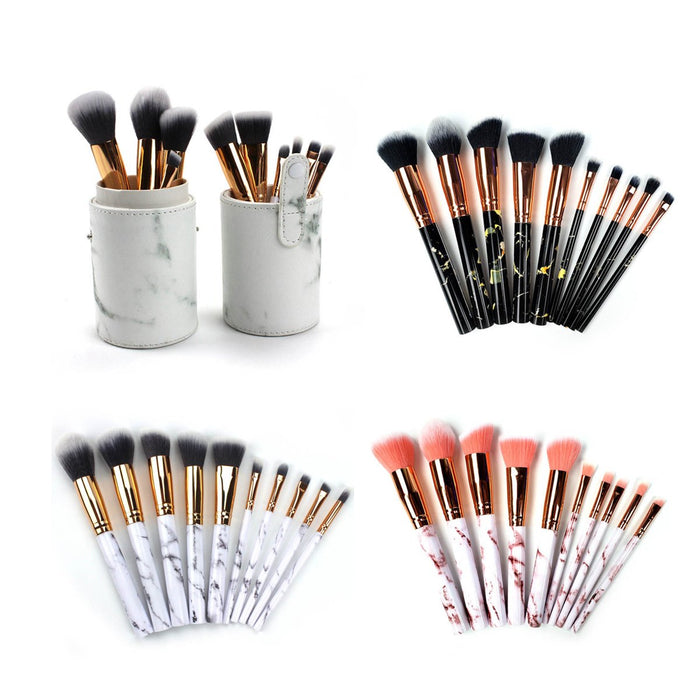 La Canica 10 In 1 Makeup Brush Set With Travel Friendly Container