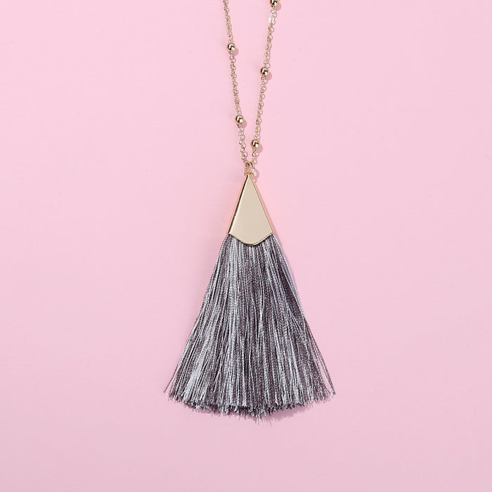 Heart Strings Tassel Pendant With Chain And Earrings Set