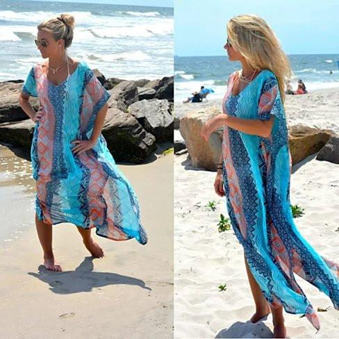 BLUISH SUMMER Mermaid Maxi Coverup - VistaShops - 3