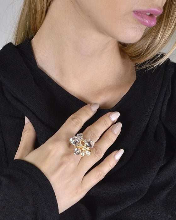 Bow Shaped Metallic Accent Crystal Studded Ring