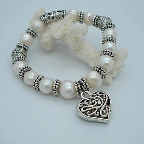 Charming Heart Pearl And Silver Bracelet - VistaShops - 2