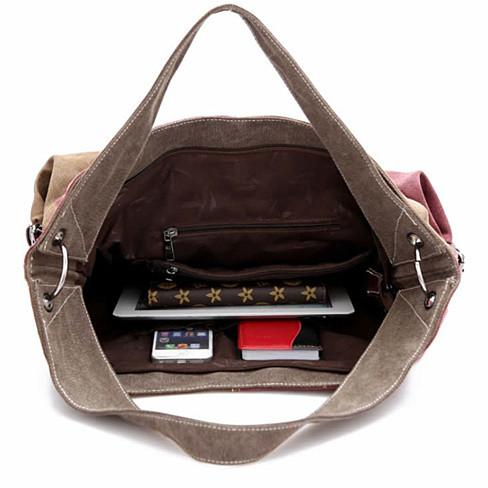 Fair and Square Two Tone Journey Canvas Shoulder Bag - VistaShops - 5