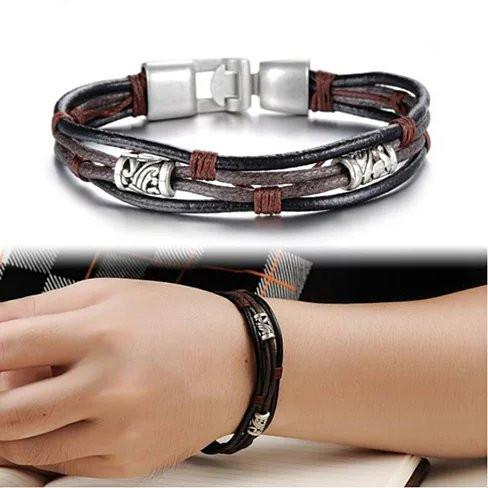 Gemini Twin Bracelets in Genuine Leather and Antique Metal Finish - VistaShops - 2
