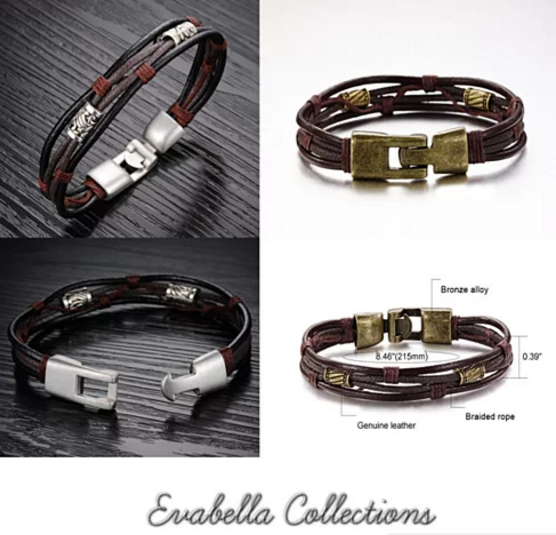 Gemini Twin Bracelets in Genuine Leather and Antique Metal Finish - VistaShops - 3