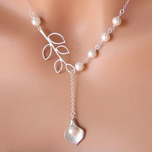 Pearly Lily Lariat Necklace in Sterling Silver and Real Pearl - VistaShops - 1