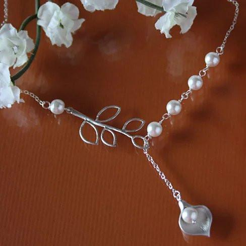 Pearly Lily Lariat Necklace in Sterling Silver and Real Pearl - VistaShops - 2