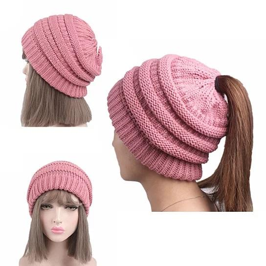 Pony Beanie Super Cute Cable Knit Hat