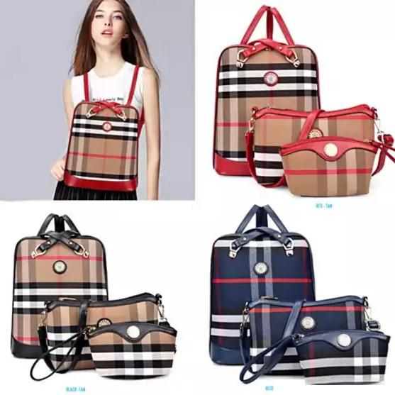 Posh And Cool Convertible 3 in 1 Backpack in Plaid - VistaShops - 2