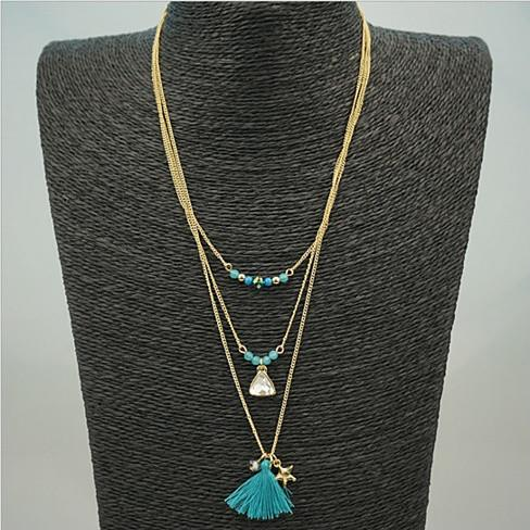 TASSEL AND TRINKETS Layered Necklace - VistaShops - 1