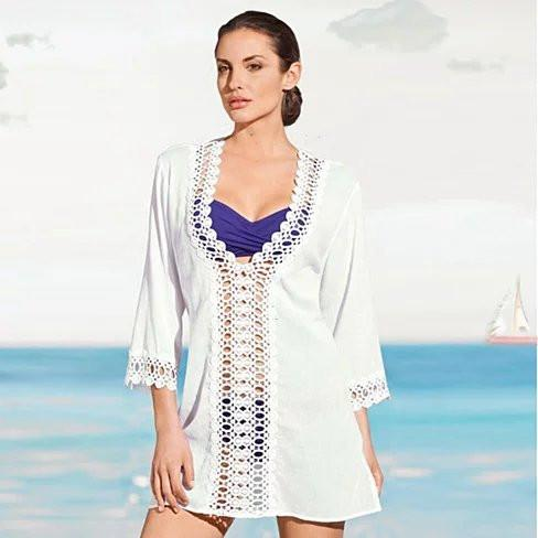 SUN KISSED Crochet Beach Tunic Cover Ups - VistaShops - 1