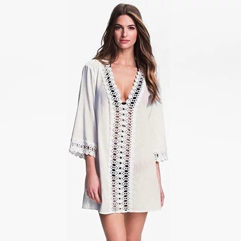 SUN KISSED Crochet Beach Tunic Cover Ups - VistaShops - 2