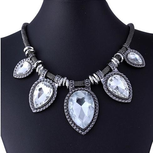 BeYOUtiful Crystal And Antique Silver Style Statement Necklace - VistaShops - 2