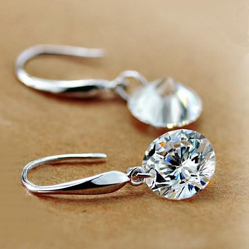 Drilled Crystal Diamond earrings with 925 Sterling Silver - VistaShops - 1