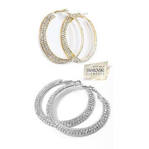 ETERNITY EVER GLOW - Double Shine Hoop Earrings Crystal - VistaShops - 2