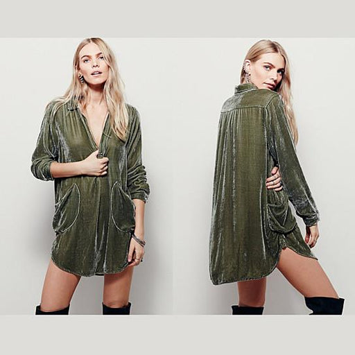 Lush Love Velvet Cocktail Tunic With Pockets