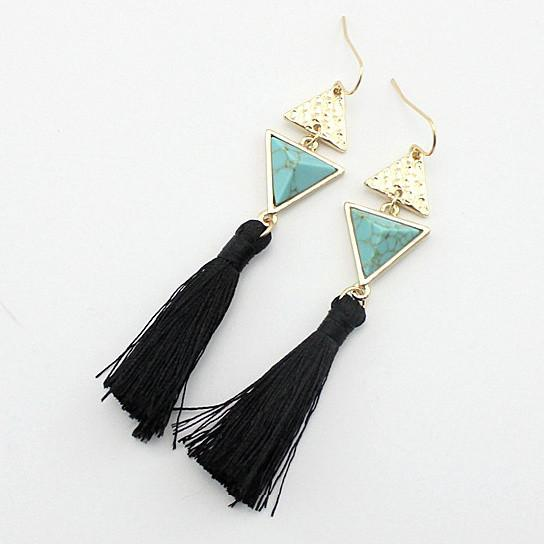 Boho Chic Pyramid Earrings In Stones And Tassels