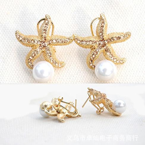 Gifts from the Sea - Starfish Pearl Earrings - VistaShops - 2