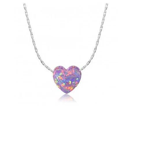 Gypsy Heart Pendants Made of Synthetic Fiery Opal On a Sterling Silver Chain - VistaShops - 4