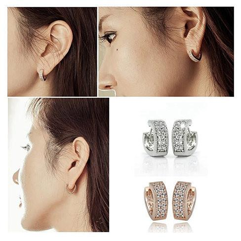 Heart Shape Hoop Earrings in 925 Sterling Silver and CZ stones - VistaShops - 3