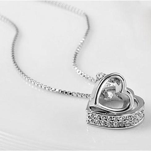 Hugging Hearts Pendant and Chain - VistaShops - 1